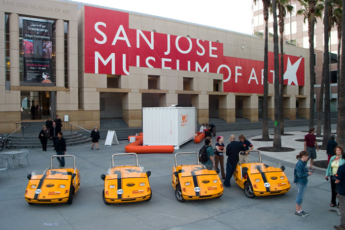 Quest vehicles in front of the San José Museum of Art